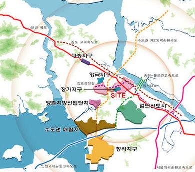 [김포한강신도시 우남퍼스트빌②입지]한강대수로 근처인 신도시 중심부에 위치