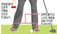 흔들리지 않는 스윙하려면…셋업시 다리 살짝 구부리고 右무릎 안쪽으로 살짝 넣어라