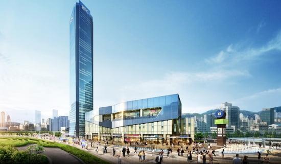 63층 빌딩 옆으로 지상에 조성될 BIFC몰 투시도.
