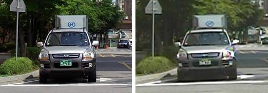 200만 화소 CCTV 카메라(오른쪽)는 41만 화소 CCTV 카메라(왼쪽)와 비교할 때 20m 떨어진 자동차의 차량번호도 선명하게 식별할 수 있다.