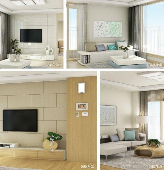 수원 호매실지구 B4블록 LH아파트 전용면적 84㎡의 거실(윗쪽)과 전용면적 59㎡의 거실 모습.