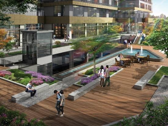 지하철 문정역과 지하로 연결된 현대지식산업센터의 선큰광장 조감도.