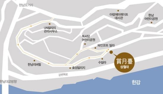 12월부터 입주가 시작된 고급 빌라 '상월대' 위치도.
