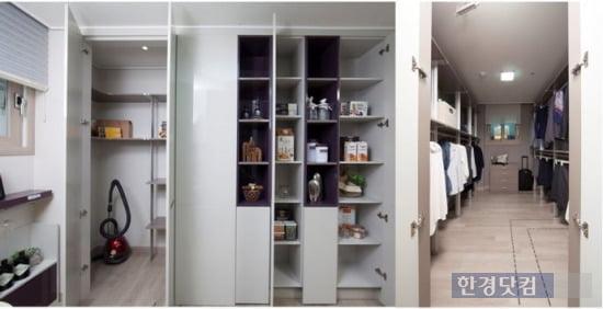 '동탄2신도시 반도유보라 아이비파크3.0' 전용면적 84㎡B의 주방 수납공간(왼쪽)과 안방 드레스룸