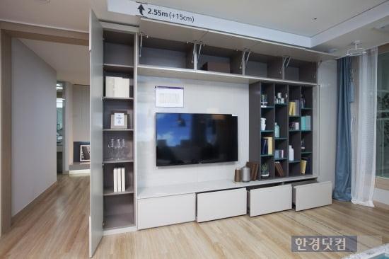 '동탄2신도시 반도유보라 아이비파크3.0' 전용면적 74㎡A의 거실 아트월 책장