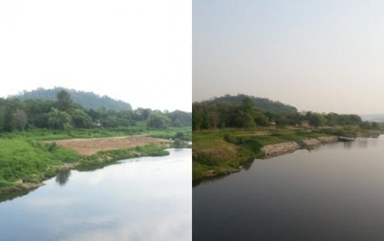 <사진설명>현대건설이 지난해 시범적으로 하천 생태계 복원을 검증한 경기도 성남시 탄천의 시공전(왼쪽) 및 시공후 모습.