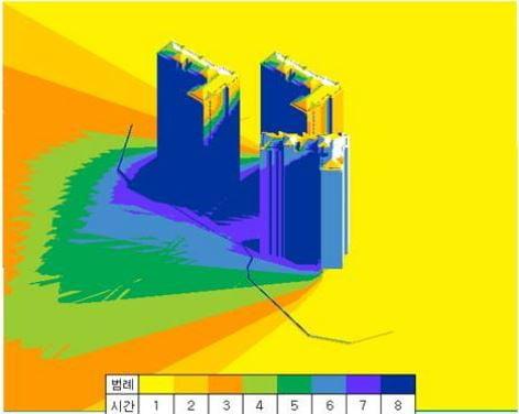 아파트의 일조량을 환경분석 시스템을 통해 분석한 모습. (자료 포스코건설)