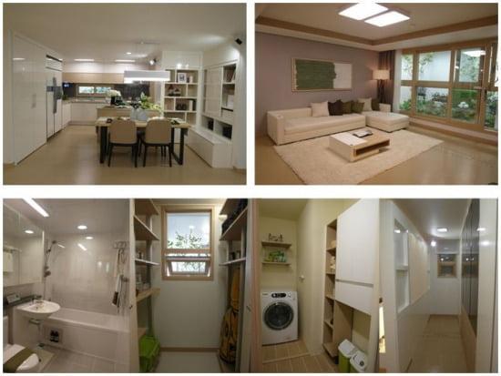 '부산 더샵 시티애비뉴Ⅱ'의 전용 84㎡의 내부. 다이닝 오픈 서고를 갖춘 넓은 주방과 틈틈이 자리잡은 수납장들이 눈에 띈다.