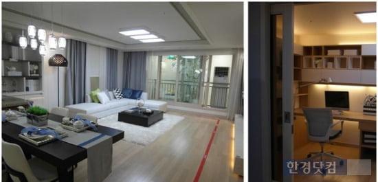 '창원 더샵 센트럴파크' 전용 98㎡의 내부. 넓은 거실과 알파룸이 특색 있다.