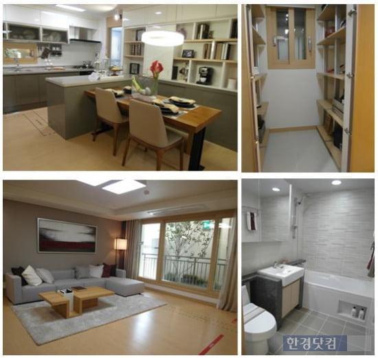 '창원 더샵 센트럴파크' 전용 84㎡B의 내부. 현관 워크인 수납장과 넓은 주방이 특징이다.