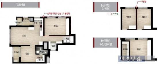 힐스테이트 서리풀의 전용 59㎡A형의 내부. 침실 2개소를 통합형, 분리형, 수납형 등 3가지 옵션 중에 골라서 시공할 수 있다.