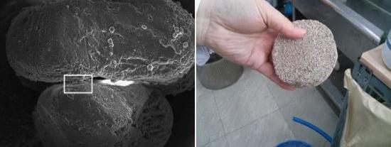 ( 왼쪽부터)결속된 토양의 입자와 고형화된 모습
