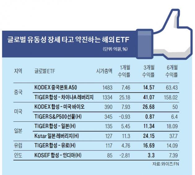 유동성 장세 올라탄 해외ETF '훨훨' | 증권 | 한경닷컴