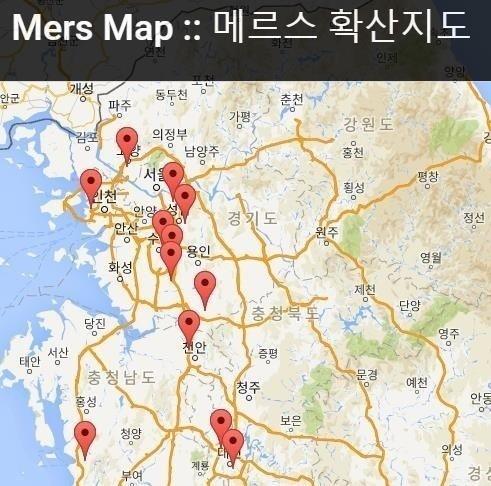 메르스 지도 메르스 지도 / 웹사이트(http://mersmap.com) 캡처