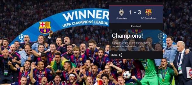 바르셀로나, 유벤투스 꺾고 '트레블 달성'…MSN 라인 파워(사진=FC 바르셀로나 홈페이지)