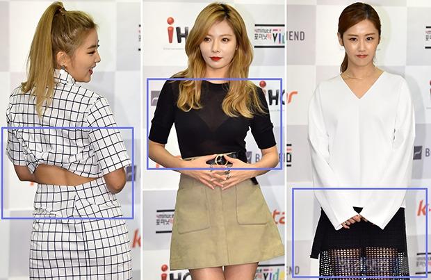 ↑포미닛 소현-현아-가윤, '트임+시스루+망사' 패션의 포인트는 부분노출