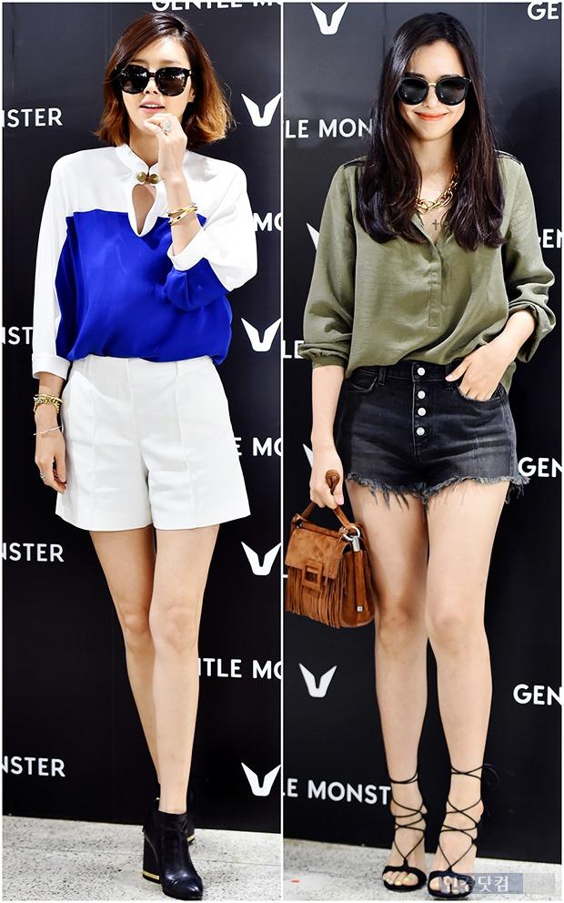 ↑이하늬-채정안, '늘씬한 각선미 살린 핫팬츠 패션'