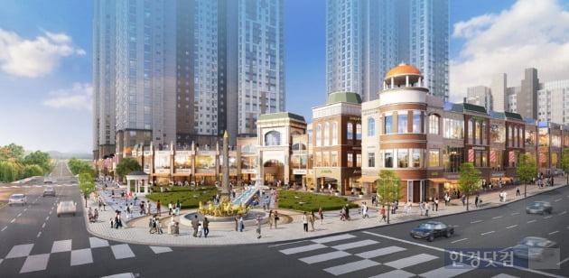 광교 중흥S-클래스 상업시설인 '어뮤즈 스퀘어' 조감도. 중심상업지구와 가까운 곳에는 대형 찜질방이 입점할 예정이다.