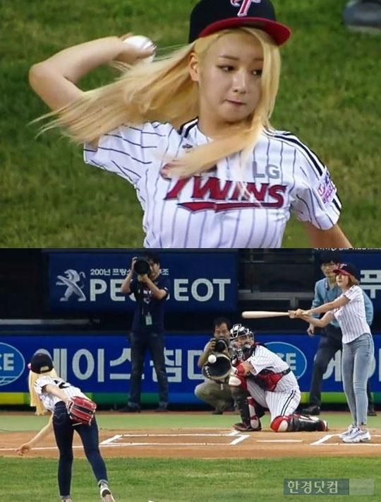 에이핑크 윤보미 시구 / 중계방송 캡처