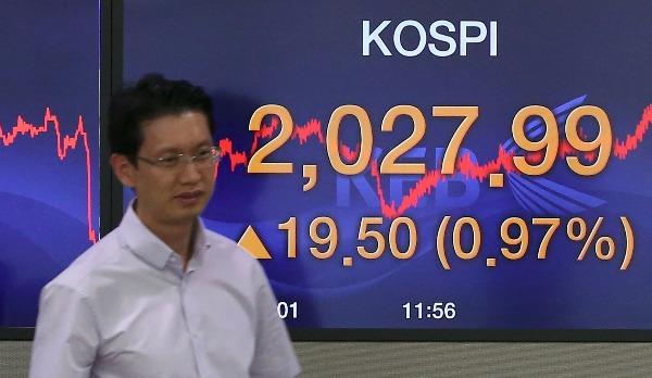 코스피가 4일 기관과 외국인의 동반 매수세에 힘입어 2,020선을 회복했다. 이날 코스피는 전날보다 19.50포인트(0.97%) 오른 2,027.99로 마감했다. 코스닥은 2%대 급반등했다. 코스닥지수는 15.69포인트(2.20%) 오른 730.03으로 거래를 마쳤다. 서울 외환시장에서 원/달러 환율은 0.4원 내린 1,165.5원으로 마감했다. 사진은 이날 오후 서울 중구 외환은행 본점 딜링룸. 연합뉴스
