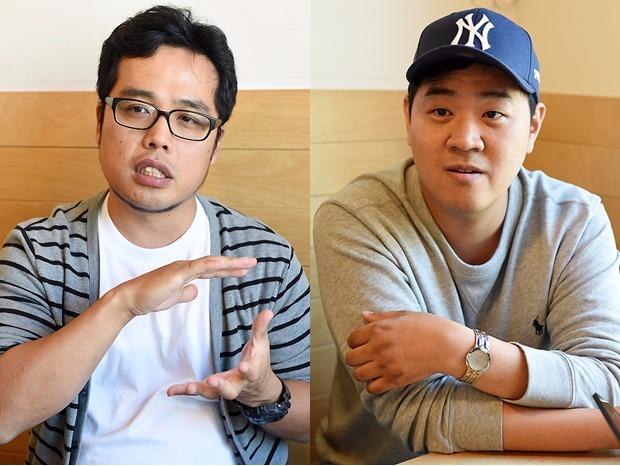 (왼쪽부터) '일반적 상상'을 연재할 탐이부 작가와 '막무가내'의 악어인간 작가.