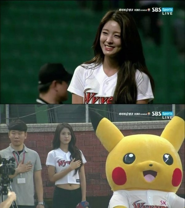설현 시구 / 사진=SBS 스포츠 방송화면 캡처