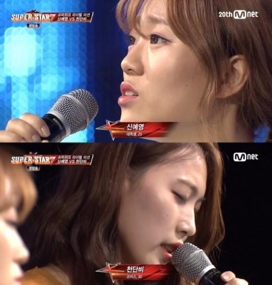 신예영과 천단비. '슈퍼스타K7' 방송 캡처