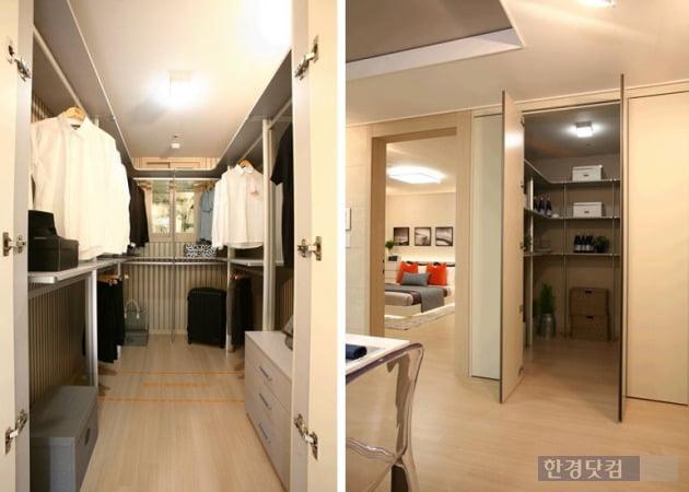 '평택소사벌 우미린 레이크파크'의 다양한 수납공간. 안방 드레스룸과 속이 깊은 팬트리. (자료 우미건설)