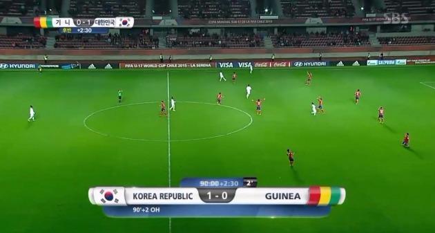 오세훈 극적골…한국, 기니에 1대 0 승리/SBS 중계 캡쳐
