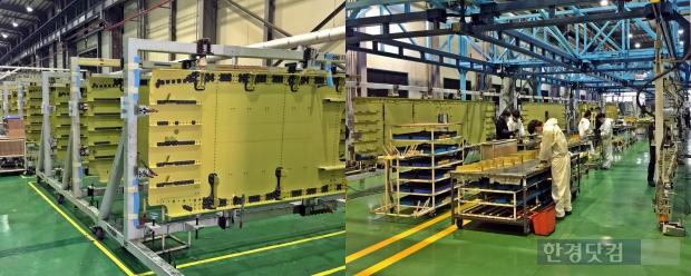 린 시스템이 적용되기 전(좌)과 린 시스템으로 작업 중인 하이즈항공 사천 공장(우)의 모습. 우측 사진 속 상단의 파란색 레일을 따라 부품들이 움직인다.