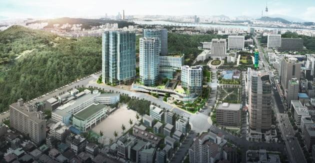 지하철 2호선 서초역 근처에 짓고 있는 복합건물의 거리 조감도.