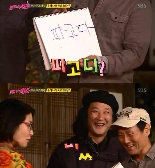 국보 2호를 묻는 질문에 '파고다'라고 답한 김도균 팀. '불타는 청춘' 캡처