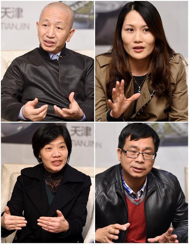 <왼쪽 위부터 시계방향으로 주찌엔청 비서장, 스쉬에펑 부동사장, 천마오쩐 총감, 링셩핑 총경리>