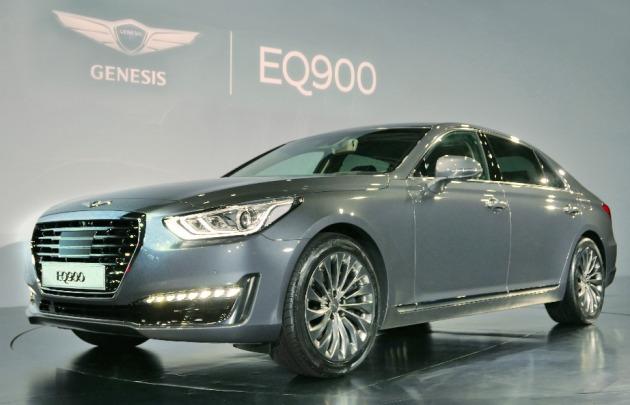 9일 오후 6시 서울 하얏트호텔에서 신차 발표회를 갖는 제네시스 'EQ900' 행사 리허설. (사진=현대차 제공)