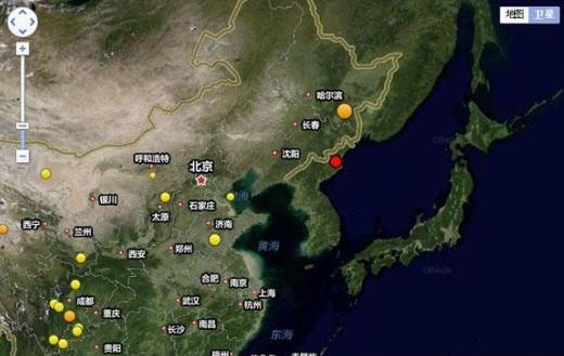 북한 인공지진 /중국지진센터 홈페이지 캡쳐