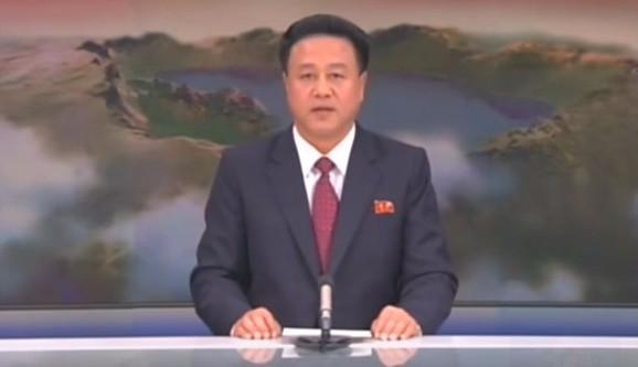 수소폭탄 핵실험 사실을 발표하는 북한 조선중앙TV