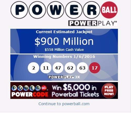파워볼 당청금/사진=www.powerball.com 홈페이지 캡쳐