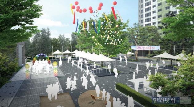 마을마당 주차장을 축제장소로 이용할 수 있는 '거창 푸르지오' 조감도. (자료 대우건설)