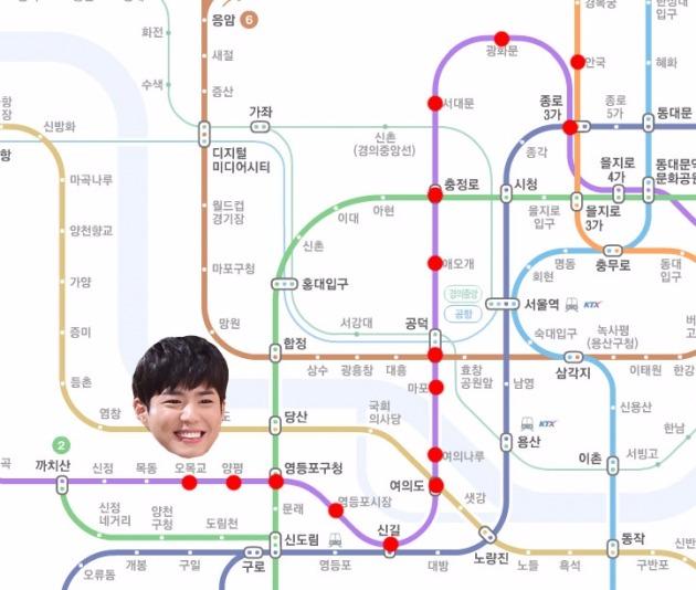 박보검 예상 이동경로 / 사진 = 네이버 지하철 노선도