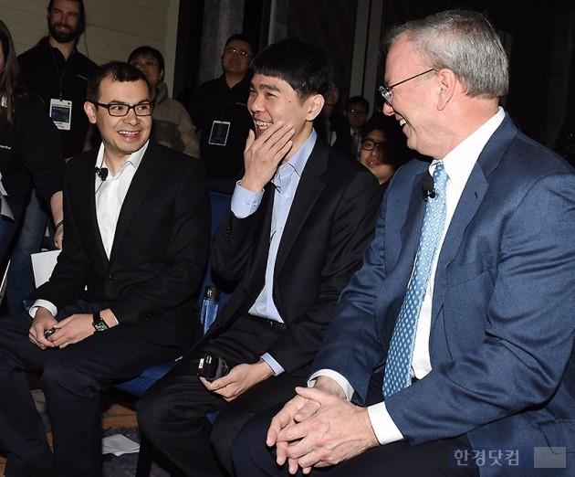 데미스 하사비스 구글 딥마인드 최고경영자, 이세돌 9단, 에릭 슈미트 구글 회장, 사진=변성현 기자