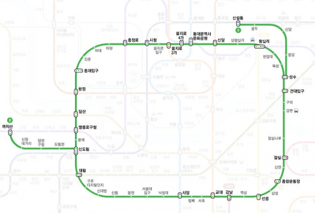 지하철 2호선 지하철 2호선 / 사진 = 네이버 지하철 노선도 캡처