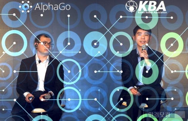 이세돌 알파고 대결 중계 (왼쪽부터) 데미스 하사비스 구글 딥마인드 CEO와 이세돌 9단. 사진=한국경제 DB