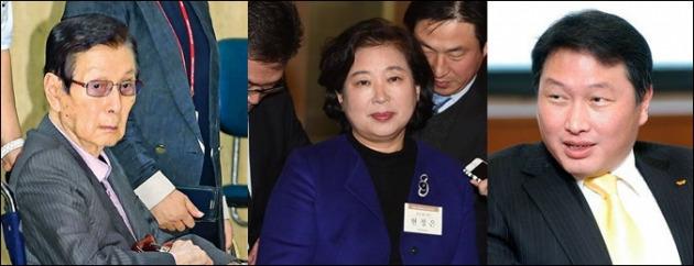 (왼쪽부터) 신격호 롯데 총괄회장, 현정은 현대그룹 회장, 최태원 SK그룹 회장. 사진=한경DB