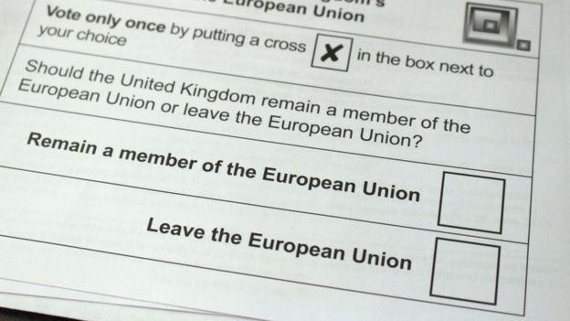 영국의 유럽연합(EU) 탈퇴 여부를 묻는 투표용지. / 사진= BBC 방송화면