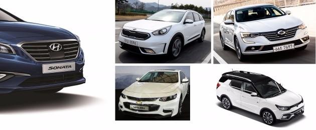 (왼쪽부터 시계 방향으로) 현대차 쏘나타, 기아차 니로, 르노삼성 SM6, 쌍용차 티볼리 에어, 한국GM 말리부.