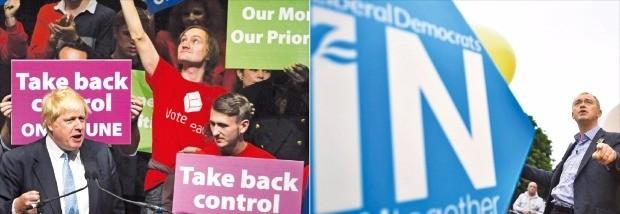 브렉시트 찬반 캠페인이 재개된 19일(현지시간) 유럽연합(EU) 탈퇴 진영을 이끄는 보리스 존슨 전 런던시장(왼쪽)이 연설하고 있다. 같은 날 EU 잔류 진영의 팀 패론 자유민주당 대표(오른쪽)가 캠페인 버스 앞에서 지지자들에게 잔류해야 하는 이유를 설명하고 있다. 런던EPA연합뉴스