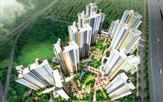 중소형 아파트 1597가구로 지어지는 '신흥덕 롯데캐슬 레이시티' 조감도. 단지 안에 스트리트몰과 중앙 공원이 조성된다. 엠제이파트너스 제공