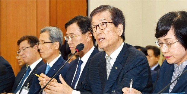 이동걸 산업은행 회장(오른쪽 두 번째)이 30일 국회 정무위원회에서 의원들의 질의에 답변하고 있다. 신경훈 기자 khshin@hankyung.com