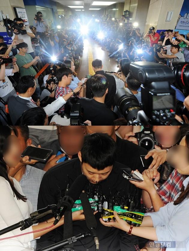 박유천이 성폭행 혐의로 경찰에 출석해 고개를 숙이고 있다. /사진=최혁 기자