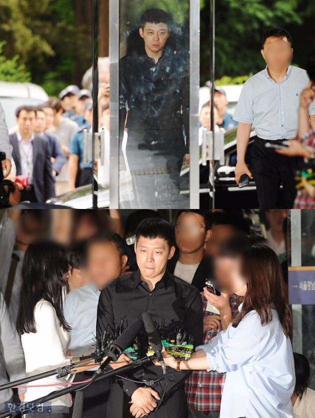 박유천이 성폭행 혐의에 대한 조사를 받기 위해 서울 강남 경찰서에 들어서고 있다.